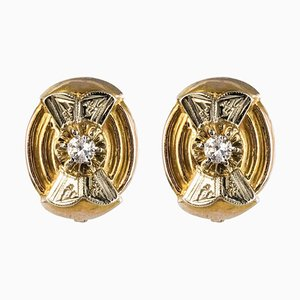 Diamonds, 18 Karat Yellow and White Gold Stud Earrings, 1950s, Set of 2