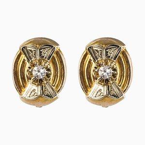 Orecchini a bottone in oro giallo e bianco con diamanti, 18 carati, anni '50, set di 2