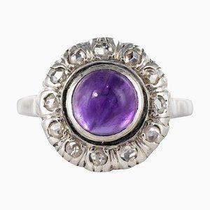 1.75 Karat Amethyst Diamanten und 18 Karat Weißgold Ring, 1930er
