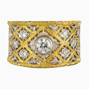 Large Diamond and Gold Filigree Band Ring