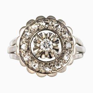Runder französischer Ring aus 18 Karat Weißgold mit Diamanten, 1950er