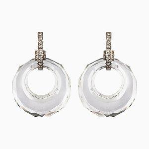 Rock Crystal Diamonds and 18 Karat White Gold Dangle Earrings, 1930s, Set of 2