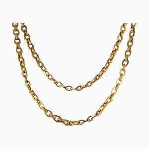 Geriffelte 18 Karat Gelbgold Lange Halskette, 19. Jh