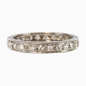 French Diamonds and 18 Karat White Gold Wedding Ring, 1950s