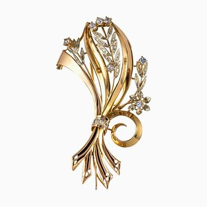 French Aquamarine Diamond and 18 Karat Yellow Gold Bouquet Brooch, 1950s