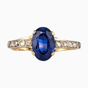 Sapphire Diamanten aus dem 20. Jahrhundert und Ring aus 18 Karat Gelbgold