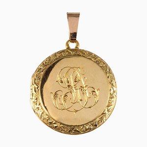 Lámpara colgante francesa con medallón cincel dorado de 18 quilates, década de 1900
