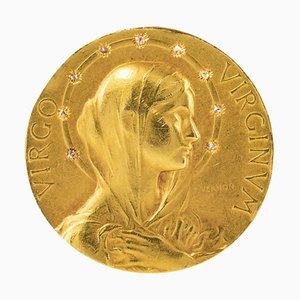 Spilla Halo in oro giallo 18 carati con diamanti, Francia