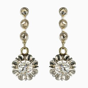 French Yellow Gold Diamond Dangle Earrings, 1900s, Set of 2