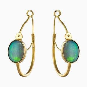 3.20 Carat Opal Hoop Gold Earrings, Set of 2