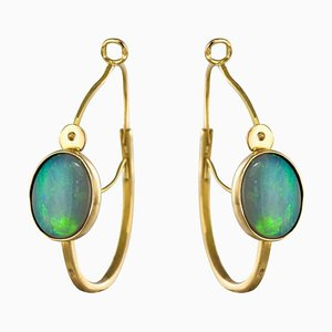 3,20 Karat Gold Ohrringe mit Opalglasreifen, 2er Set