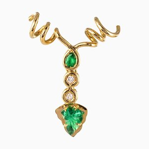 Emerald Diamonds and 18 Karat Yellow Gold Vine Leaves Pendant