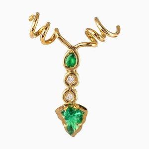 Lámpara colgante esmeralda con diamantes y hojas de parra de oro amarillo de 18 quilates
