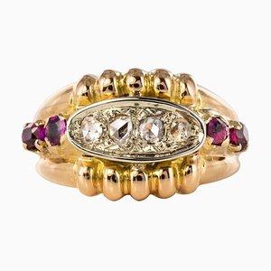 Französischer Rubinroter Ring aus 18 Karat Gold mit Diamanten, 1950er