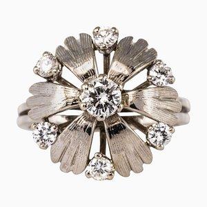 Französischer Ring aus Diamanten und 18 Karat Gold in Weiß, 1970er