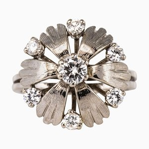 French Diamonds and 18 Karat White Gold Petals Ring, 1970s