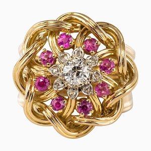 Französischer Ring aus Rubin und Diamanten mit 18 Karat Goldfäden, 1950er