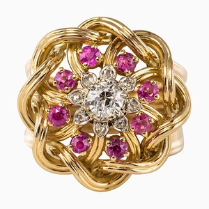 French Ruby and Diamonds Intertwined 18 Karat Gold Threads Ring, 1950s