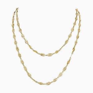 Collar de cadena larga con filigrana de oro amarillo de 18 quilates, siglo XX