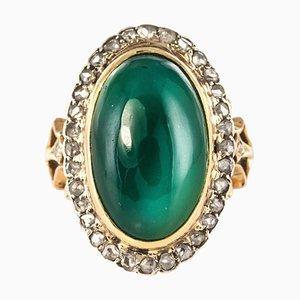 Green Agate Rose-Cut Diamonds and 18 Karat Rose Gold Ring, 1900s