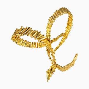 18 Karat Yellow Gold Bow Brooch, 1970s