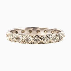 Diamond and 18 Karat White Gold Pyramid Pattern Djula Wedding Ring