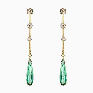 Diamonds Tourmaline and 18 Karat Yellow Gold Dangle Earrings, 1930s, Set of 2