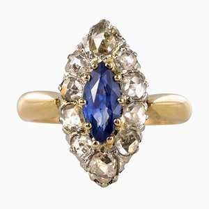 French 19th Century Sapphire, Diamonds and 18 Karat Yellow Gold Marquise Ring