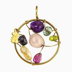 Gemstones and 18 Karat Yellow Gold Tous Pendant