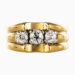 3 Diamonds and 18 Karat Yellow Gold Platinum Tank Ring, 1940s