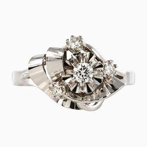 Französische Diamanten und 18 Karat Weißgold Ring, 1970er