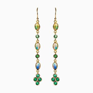 0.84 Carat, Emeralds, Opals and 18 Karat Yellow Gold Dangle Earrings, Set of 2