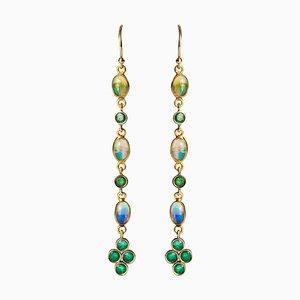 Orecchini a pendenza 0.84 carati, smeraldi, opali e oro giallo a 18 carati, set di 2