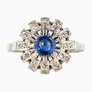 French Sapphire Diamonds Round Ring, 1930s