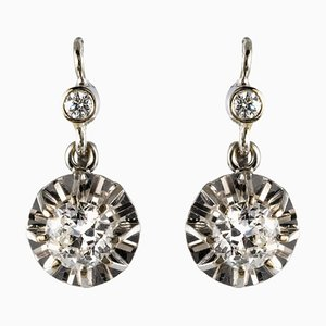 Diamonds and 18 Karat White Gold Drop Earrings, 1950s, Set of 2