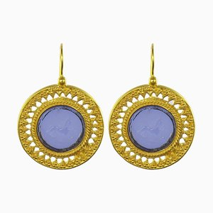 Italian Blue Drop Earrings, Set of 2