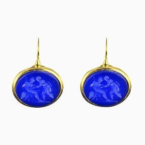Italian Blue Drop Earrings, Set of 2