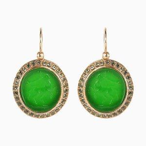 Aretes italianos con forma de catalejo y cristales verdes. Juego de 2
