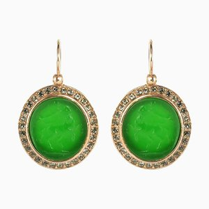 Italian Intaglio and Green Stone Crystals Lever-Back Earrings, Set of 2