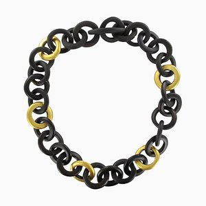 African Ebony Circles Gold Leaf Necklace