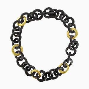 Afrikanisches Ebony Circles Blattgold Collier