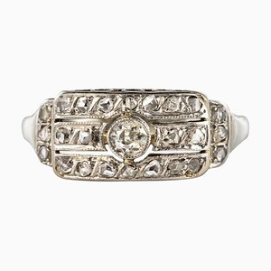 18 Karat White Gold Diamond Ring, 1930s
