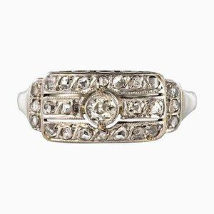 Anello con diamanti a 18 carati in oro bianco, anni '30