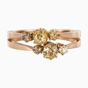 19th Century Yellow Diamond and 18 Karat Rose Gold You and Me Ring