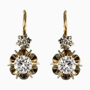French Diamonds and 18 Karat Yellow Gold Lever Back Earrings, 1950s, Set of 2