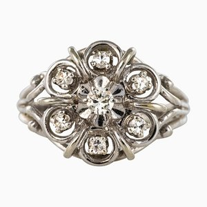 French Diamonds and 18 Karat White Gold Thread Ring, 1960s