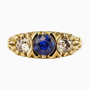 Saphirglas, Brillantschliffringe und 18 Karat Gelbgold Garter Ring aus 20. Jhdt