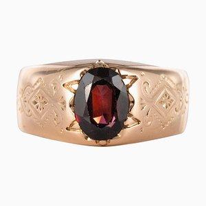 19th Century 18 Karat Rose Gold and 1.20 Carat Garnet Bangle Mens Ring