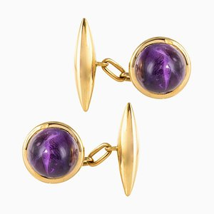 French 20th Century Amethyst and 18 Karat Yellow Gold Cufflinks, Set of 2