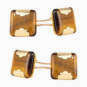 French Tigers Eye 18 Karat Yellow Gold Cufflinks, 1920s, Set of 2